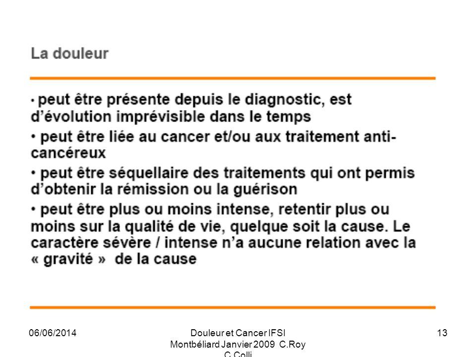 06/06/2014Douleur et Cancer IFSI Montbéliard Janvier 2009 C.Roy C.Colli 13