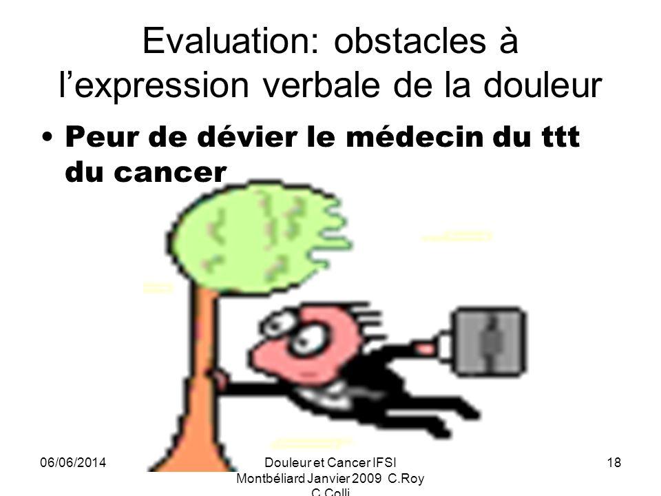 06/06/2014Douleur et Cancer IFSI Montbéliard Janvier 2009 C.Roy C.Colli 18 Evaluation: obstacles à lexpression verbale de la douleur Peur de dévier le médecin du ttt du cancer