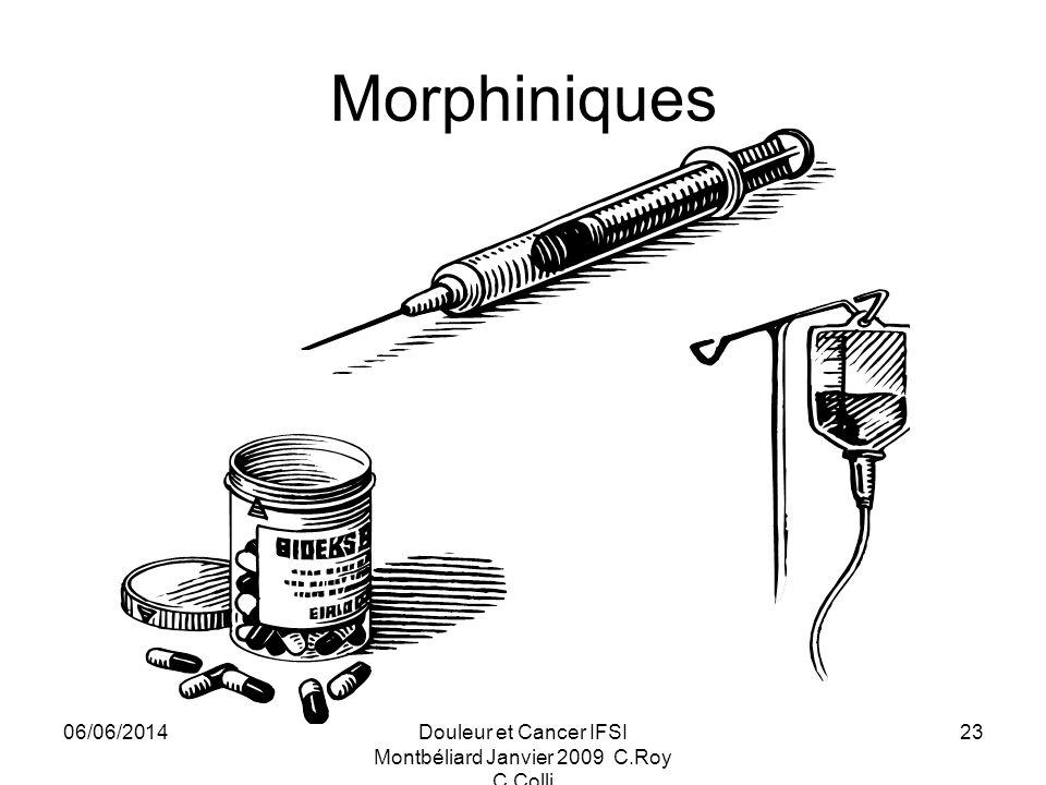 06/06/2014Douleur et Cancer IFSI Montbéliard Janvier 2009 C.Roy C.Colli 23 Morphiniques