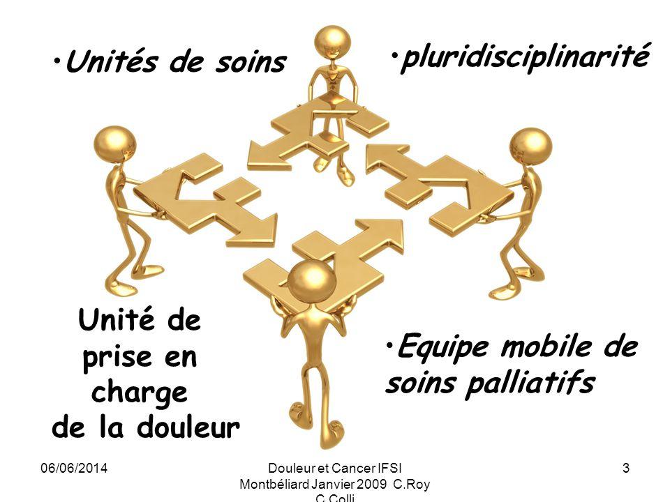 06/06/2014Douleur et Cancer IFSI Montbéliard Janvier 2009 C.Roy C.Colli 3 Unités de soins pluridisciplinarité Unité de prise en charge de la douleur Equipe mobile de soins palliatifs