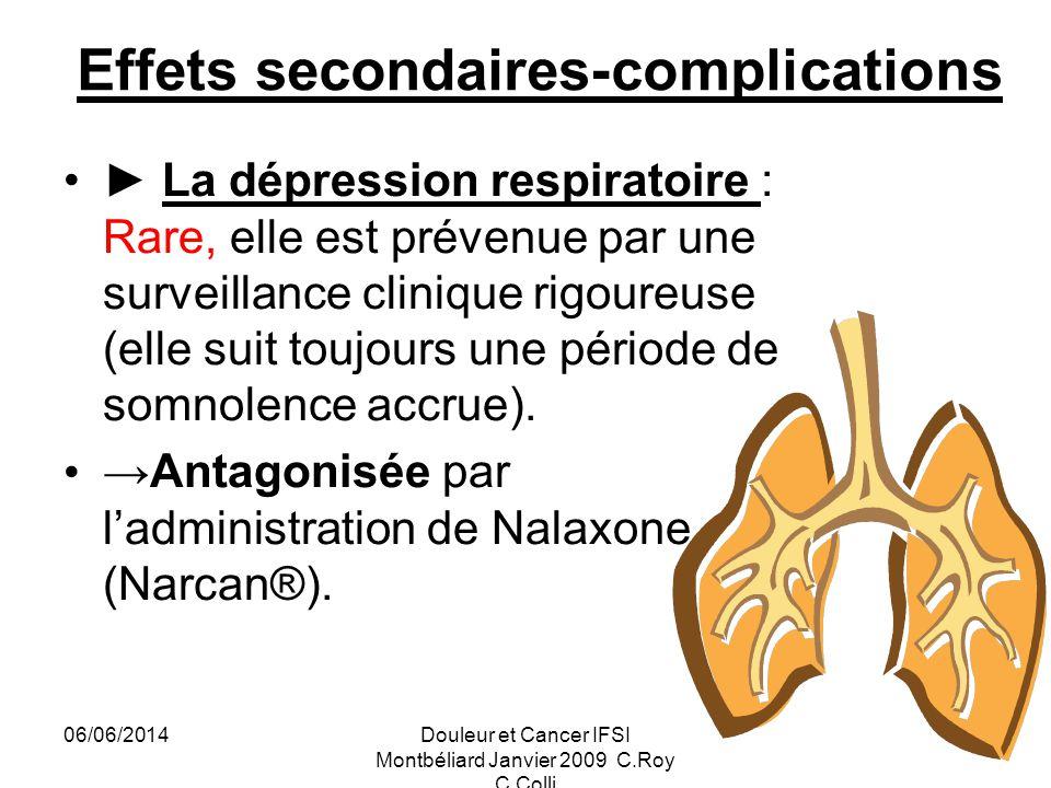 06/06/2014Douleur et Cancer IFSI Montbéliard Janvier 2009 C.Roy C.Colli 30 Effets secondaires-complications La dépression respiratoire : Rare, elle est prévenue par une surveillance clinique rigoureuse (elle suit toujours une période de somnolence accrue).