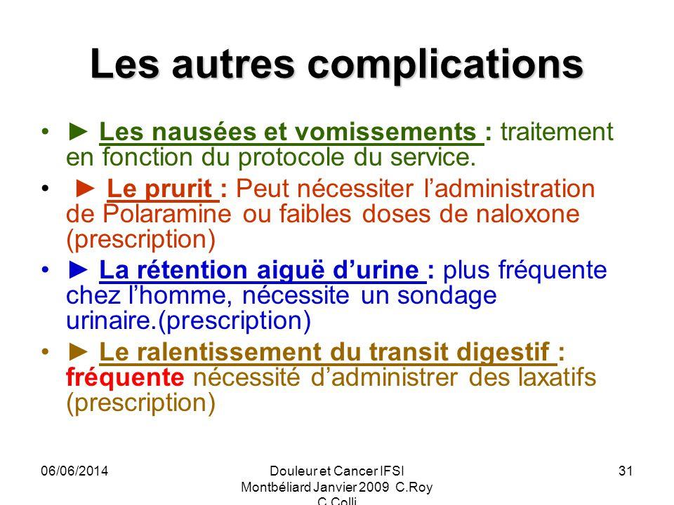 06/06/2014Douleur et Cancer IFSI Montbéliard Janvier 2009 C.Roy C.Colli 31 Les autres complications Les nausées et vomissements : traitement en fonction du protocole du service.