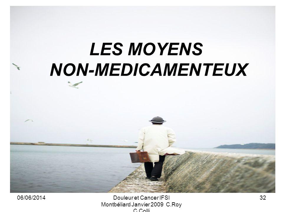 06/06/2014Douleur et Cancer IFSI Montbéliard Janvier 2009 C.Roy C.Colli 32 LES MOYENS NON-MEDICAMENTEUX