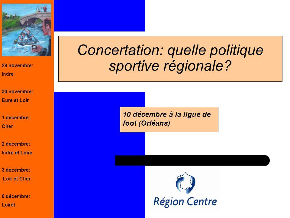 1 Concertation: quelle politique sportive régionale? 10 décembre à la ligue de foot (Orléans) 29 novembre: Indre 30 novembre: Eure et Loir 1 décembre: