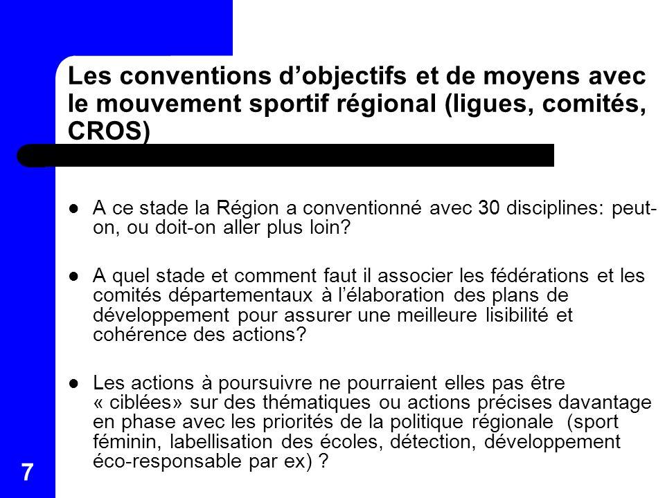 7 Les conventions dobjectifs et de moyens avec le mouvement sportif régional (ligues, comités, CROS) A ce stade la Région a conventionné avec 30 disci