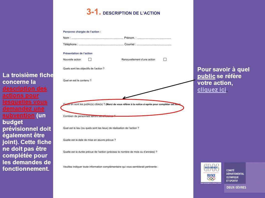 La troisième fiche concerne la description des actions pour lesquelles vous demandez une subvention (un budget prévisionnel doit également être joint).