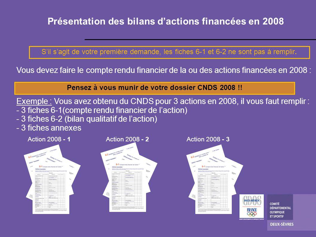Présentation des bilans dactions financées en 2008 Vous devez faire le compte rendu financier de la ou des actions financées en 2008 : Exemple : Vous avez obtenu du CNDS pour 3 actions en 2008, il vous faut remplir : - 3 fiches 6-1(compte rendu financier de laction) - 3 fiches 6-2 (bilan qualitatif de laction) - 3 fiches annexes Action 2008 - 1Action 2008 - 2Action 2008 - 3 Sil sagit de votre première demande, les fiches 6-1 et 6-2 ne sont pas à remplir.