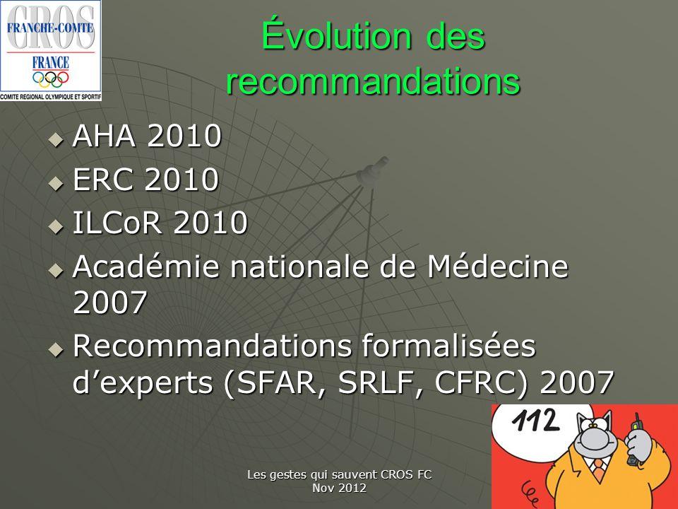 Les gestes qui sauvent CROS FC Nov 2012 Évolution des recommandations AHA 2010 AHA 2010 ERC 2010 ERC 2010 ILCoR 2010 ILCoR 2010 Académie nationale de