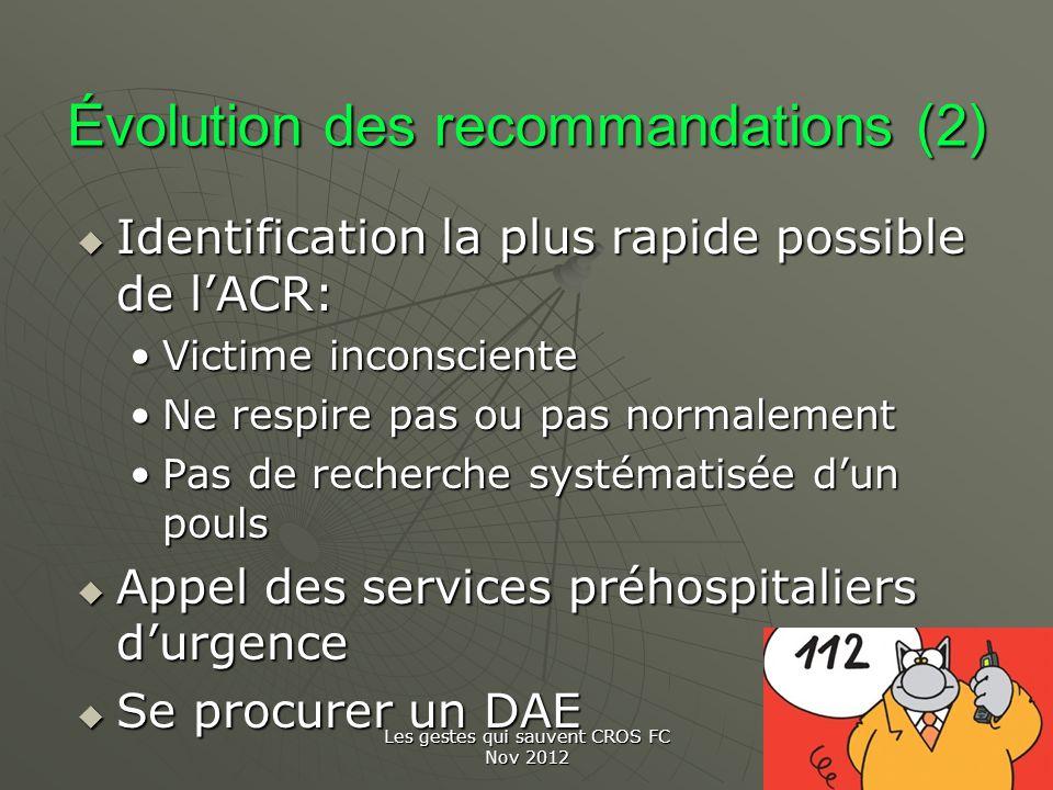 Les gestes qui sauvent CROS FC Nov 2012 Évolution des recommandations (2) Identification la plus rapide possible de lACR: Identification la plus rapid