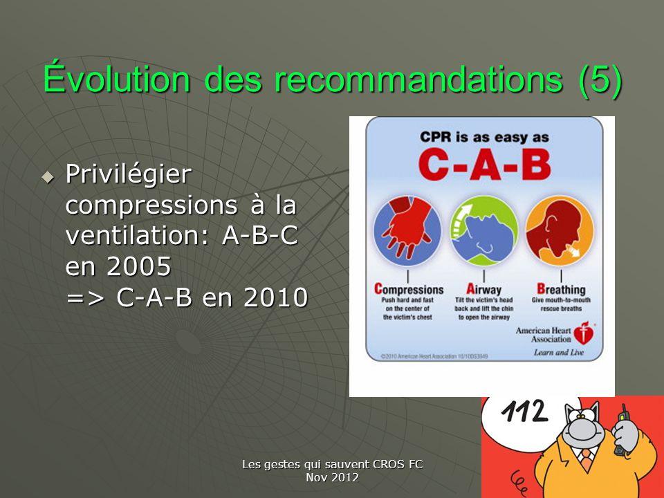 Les gestes qui sauvent CROS FC Nov 2012 Évolution des recommandations (5) Privilégier compressions à la ventilation: A-B-C en 2005 => C-A-B en 2010 Pr