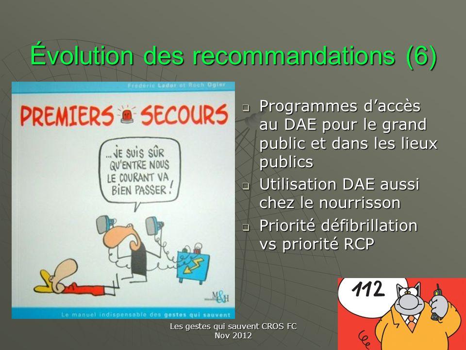 Les gestes qui sauvent CROS FC Nov 2012 Évolution des recommandations (6) Programmes daccès au DAE pour le grand public et dans les lieux publics Prog