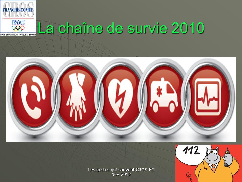 Les gestes qui sauvent CROS FC Nov 2012 La chaîne de survie 2010