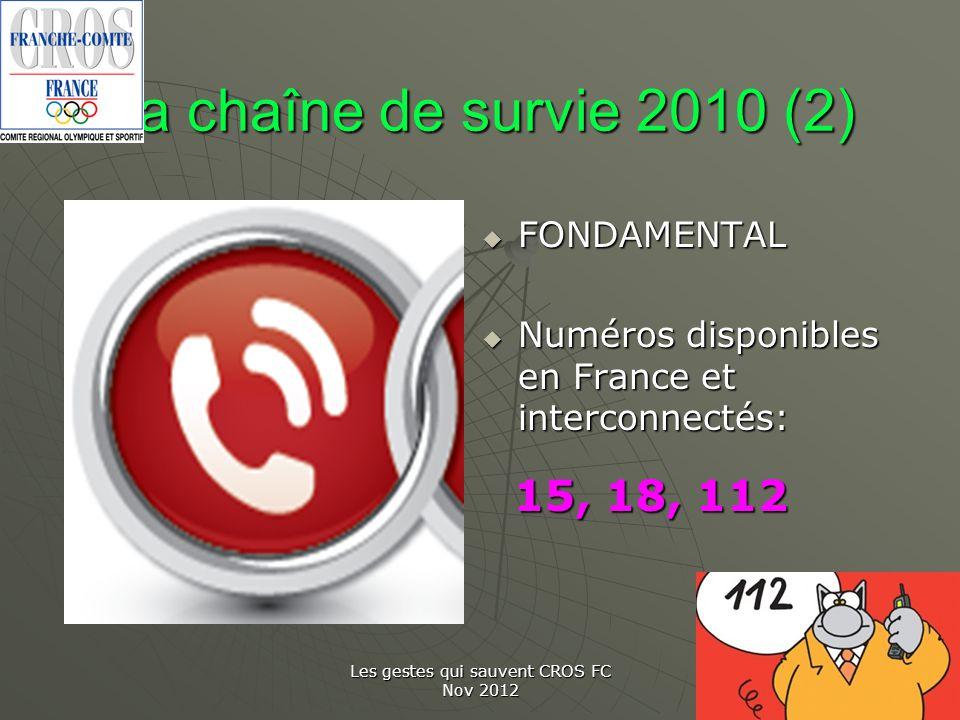 Les gestes qui sauvent CROS FC Nov 2012 La chaîne de survie 2010 (2) FONDAMENTAL FONDAMENTAL Numéros disponibles en France et interconnectés: Numéros