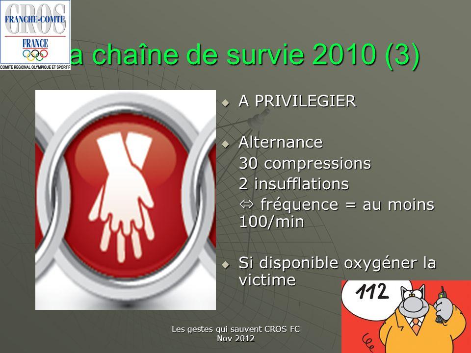 Les gestes qui sauvent CROS FC Nov 2012 La chaîne de survie 2010 (3) A PRIVILEGIER A PRIVILEGIER Alternance Alternance 30 compressions 2 insufflations