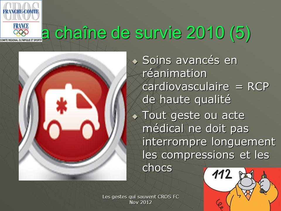 Les gestes qui sauvent CROS FC Nov 2012 La chaîne de survie 2010 (5) Soins avancés en réanimation cardiovasculaire = RCP de haute qualité Soins avancé