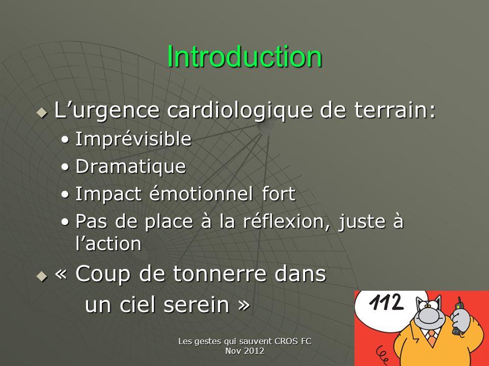 Les gestes qui sauvent CROS FC Nov 2012 Introduction Lurgence cardiologique de terrain: Lurgence cardiologique de terrain: ImprévisibleImprévisible Dr