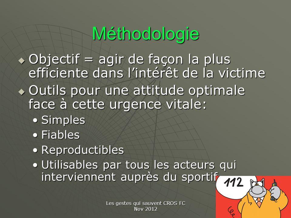 Les gestes qui sauvent CROS FC Nov 2012 Méthodologie Objectif = agir de façon la plus efficiente dans lintérêt de la victime Objectif = agir de façon