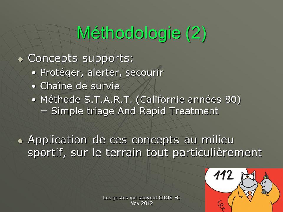Les gestes qui sauvent CROS FC Nov 2012 Méthodologie (2) Concepts supports: Concepts supports: Protéger, alerter, secourirProtéger, alerter, secourir