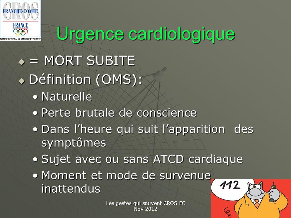 Urgence cardiologique = MORT SUBITE = MORT SUBITE Définition (OMS): Définition (OMS): NaturelleNaturelle Perte brutale de consciencePerte brutale de c