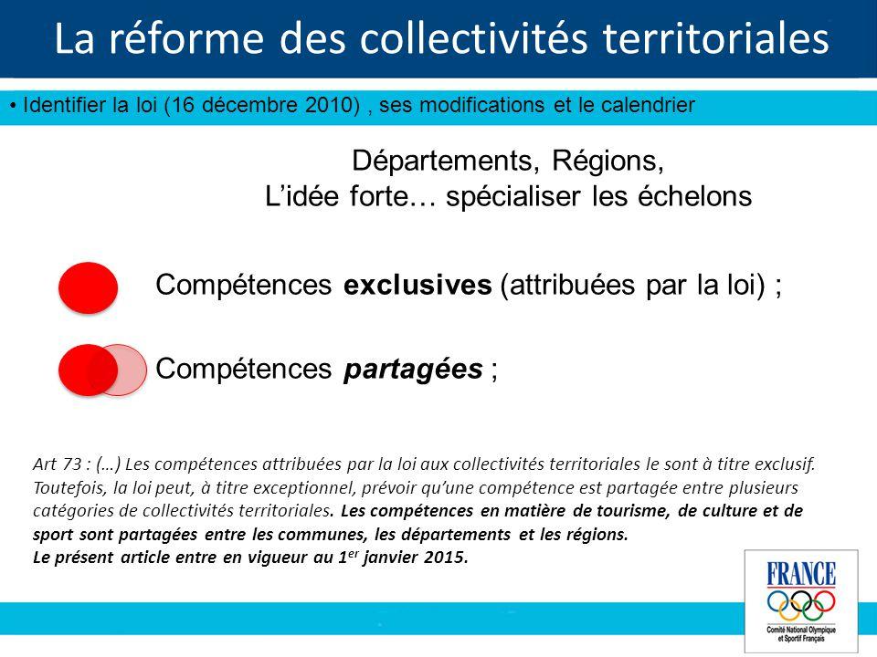La réforme des collectivités territoriales Identifier la loi (16 décembre 2010), ses modifications et le calendrier Art 73 : (…) Les compétences attribuées par la loi aux collectivités territoriales le sont à titre exclusif.