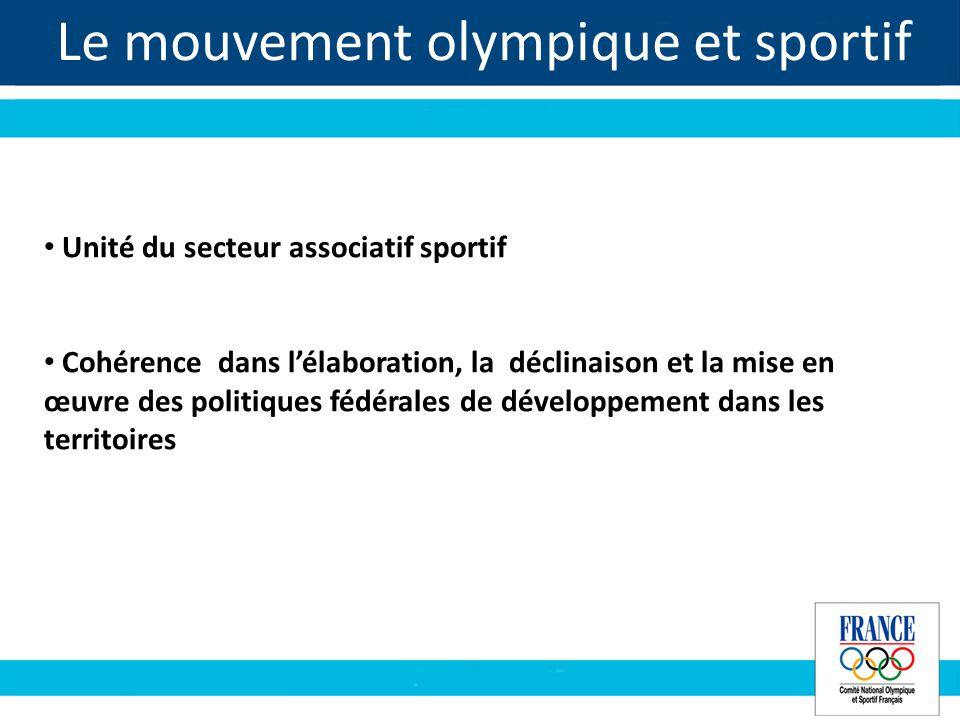 Le mouvement olympique et sportif Unité du secteur associatif sportif Cohérence dans lélaboration, la déclinaison et la mise en œuvre des politiques fédérales de développement dans les territoires