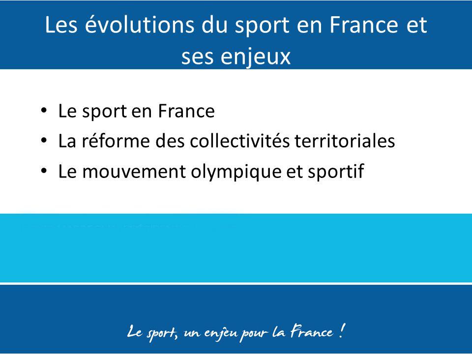 Les évolutions du sport en France et ses enjeux Le sport en France La réforme des collectivités territoriales Le mouvement olympique et sportif