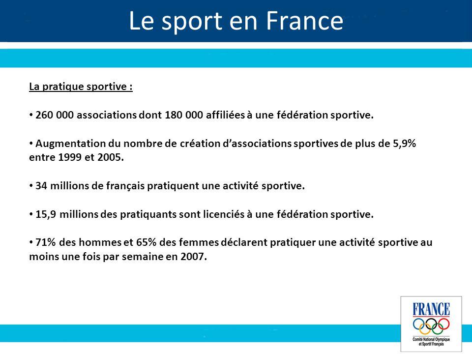 Le sport en France La pratique sportive : 260 000 associations dont 180 000 affiliées à une fédération sportive.