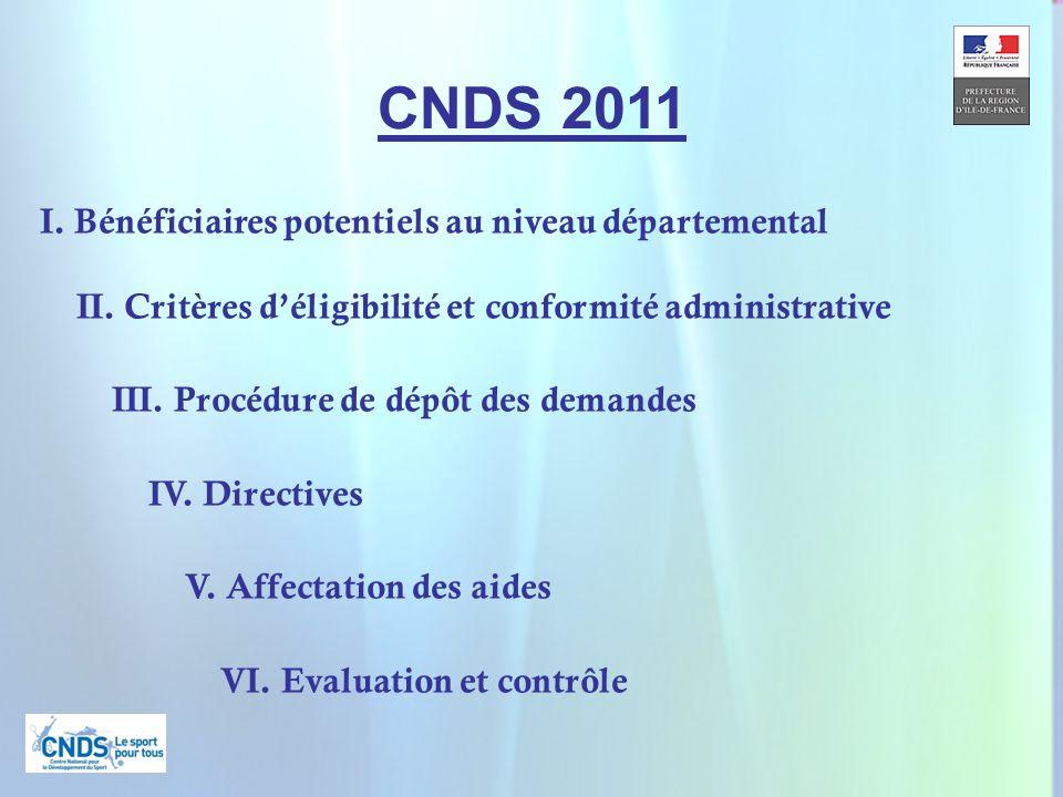 2 CNDS 2011 I. Bénéficiaires potentiels au niveau départemental II.