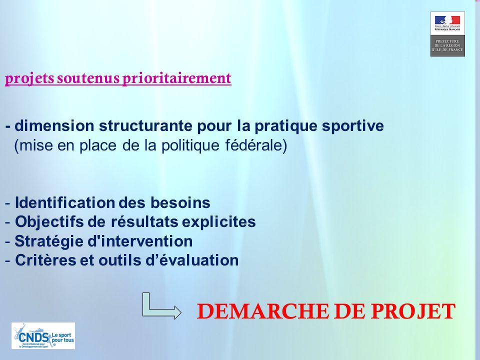 9 projets soutenus prioritairement - dimension structurante pour la pratique sportive (mise en place de la politique fédérale) - Identification des besoins - Objectifs de résultats explicites - Stratégie d intervention - Critères et outils dévaluation DEMARCHE DE PROJET