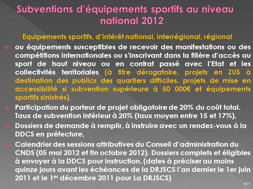 2 grands projets sportifs ont été instruits et nont pas été retenus - District du Val dOise de Football (SES n°9647) pour la construction de son siége social, - Communauté dagglomération de Cergy-Pontoise (SES n°10471) pour la restructuration du stade des Maradas, 5/11