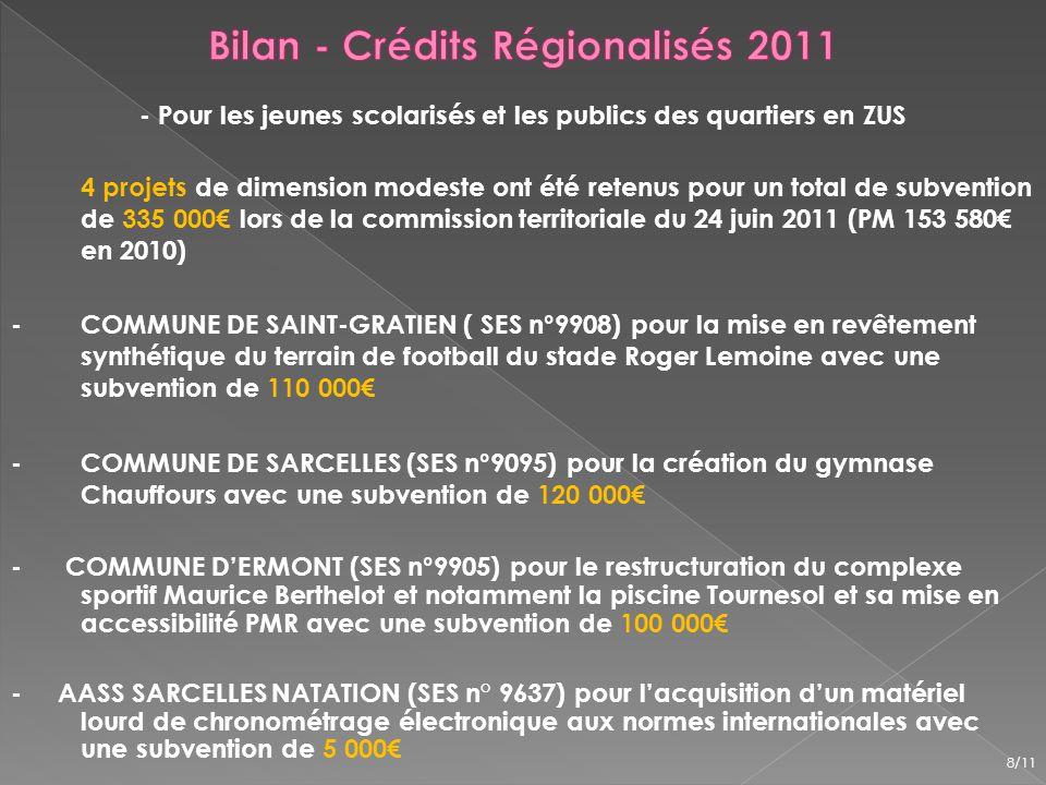 6 dossiers existants non retenus en 2011 : - gymnase de Frépillon (SES n°9889), tennis extérieurs de Mériel (SES n°9910), extension du complexe tennistique de Saint-Brice-sous Forêt (SES n°9137), terrain de football en synthétique du stade Paul Nicolas à Eaubonne (SES n°9790), revêtements de sols en résine de 3 tennis couvert pour le SI Deuil/Enghien (SES n°9266), création de 2 courts de tennis extérieurs pour le SI Deuil/Enghien (SES n°9264), 6 nouveaux dossiers en 2012 : - Beauchamp (SES n°10645) pour la création dun pas de tir à larc, - Beauchamp (SES n°10637) pour la construction dune tribunes/vestiaires, - Eragny sur Oise (SES n°10729) pour la réhabilitation dun court de tennis couvert, - Montmagny (SES n° 10971) pour la rénovation du sol sportif du gymnase André et Charles Grimaud, - En cours dinstruction, Menucourt pour mise en accessibilité et réhabilitation du gymnase, Bruyères sur Oise (vestiaires/sanitaires).