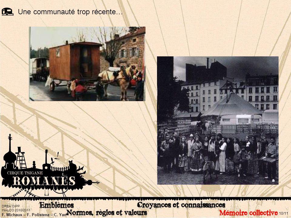 DREA OIPP INALCO 2010/2011 F. Michaux – F. Polistena – C. Yan 10/11 Une communauté trop récente…