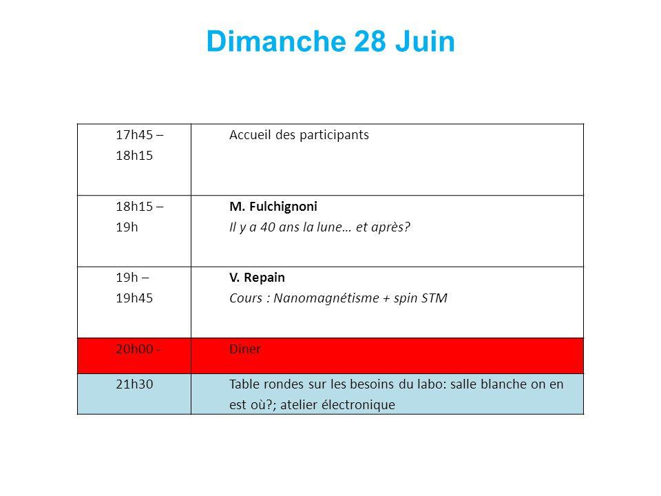 17h45 – 18h15 Accueil des participants 18h15 – 19h M. Fulchignoni Il y a 40 ans la lune… et après? 19h – 19h45 V. Repain Cours : Nanomagnétisme + spin