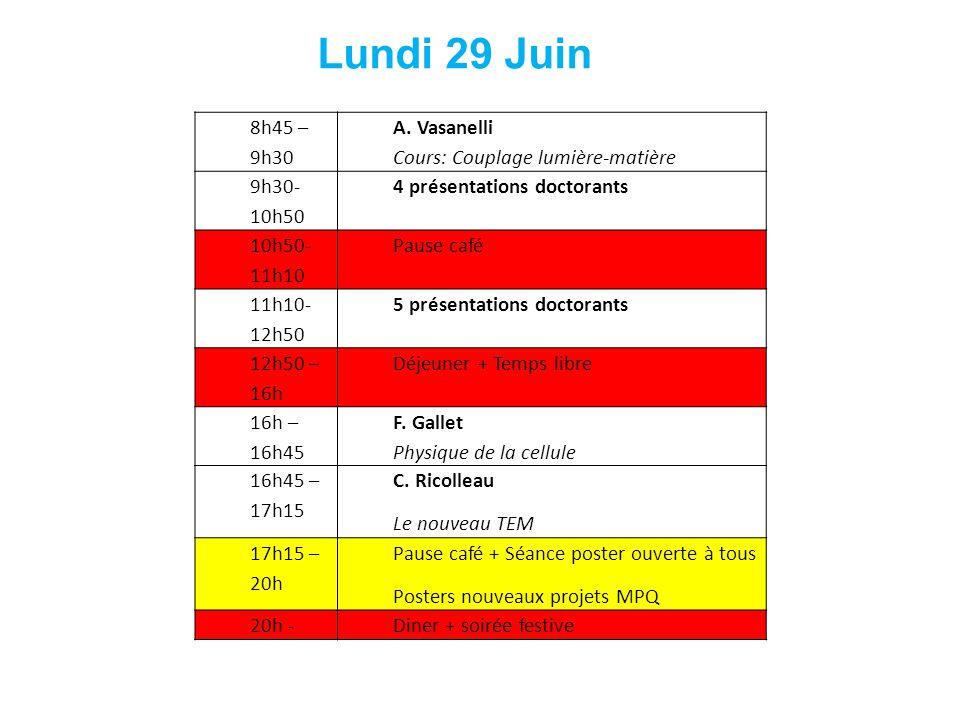 8h45 – 9h30 A. Vasanelli Cours: Couplage lumière-matière 9h30- 10h50 4 présentations doctorants 10h50- 11h10 Pause café 11h10- 12h50 5 présentations d