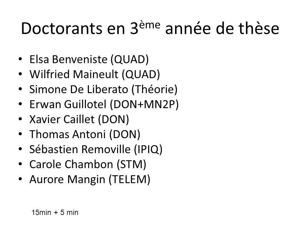 Doctorants en 3 ème année de thèse Elsa Benveniste (QUAD) Wilfried Maineult (QUAD) Simone De Liberato (Théorie) Erwan Guillotel (DON+MN2P) Xavier Cail
