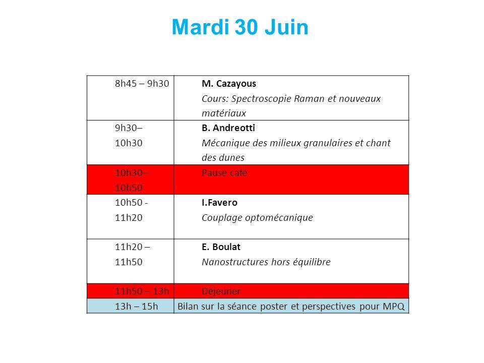 8h45 – 9h30 M. Cazayous Cours: Spectroscopie Raman et nouveaux matériaux 9h30– 10h30 B. Andreotti Mécanique des milieux granulaires et chant des dunes