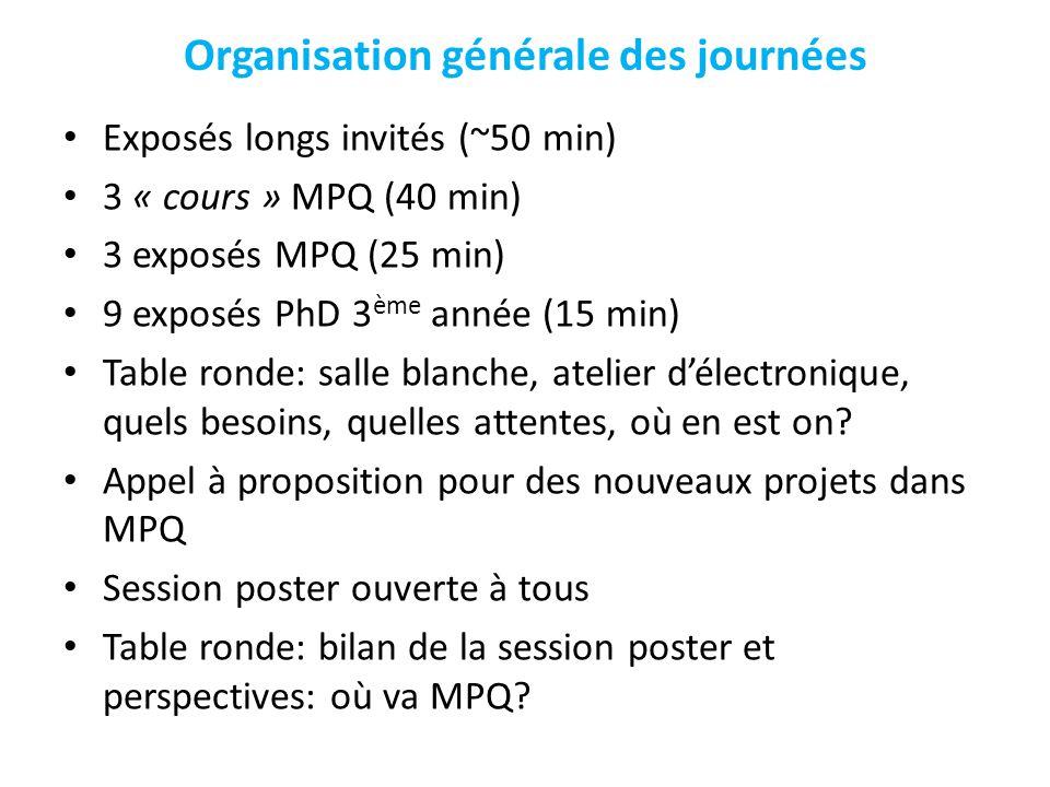 Organisation générale des journées Exposés longs invités (~50 min) 3 « cours » MPQ (40 min) 3 exposés MPQ (25 min) 9 exposés PhD 3 ème année (15 min) Table ronde: salle blanche, atelier délectronique, quels besoins, quelles attentes, où en est on.