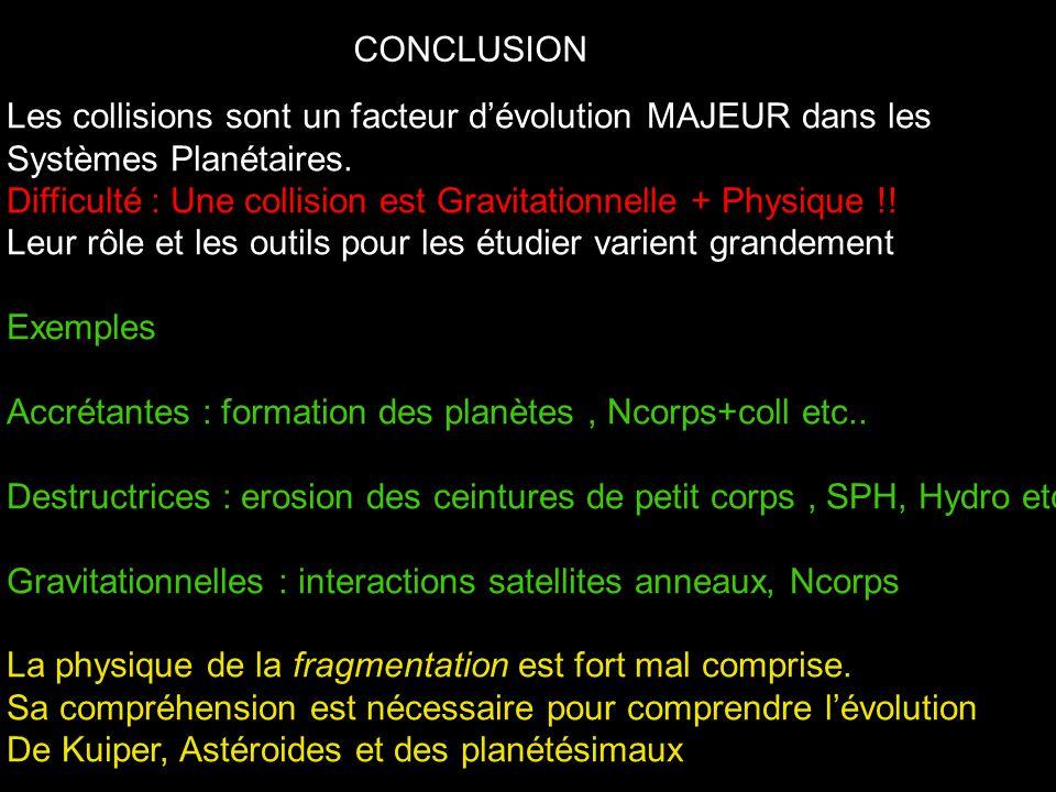 CONCLUSION Les collisions sont un facteur dévolution MAJEUR dans les Systèmes Planétaires. Difficulté : Une collision est Gravitationnelle + Physique