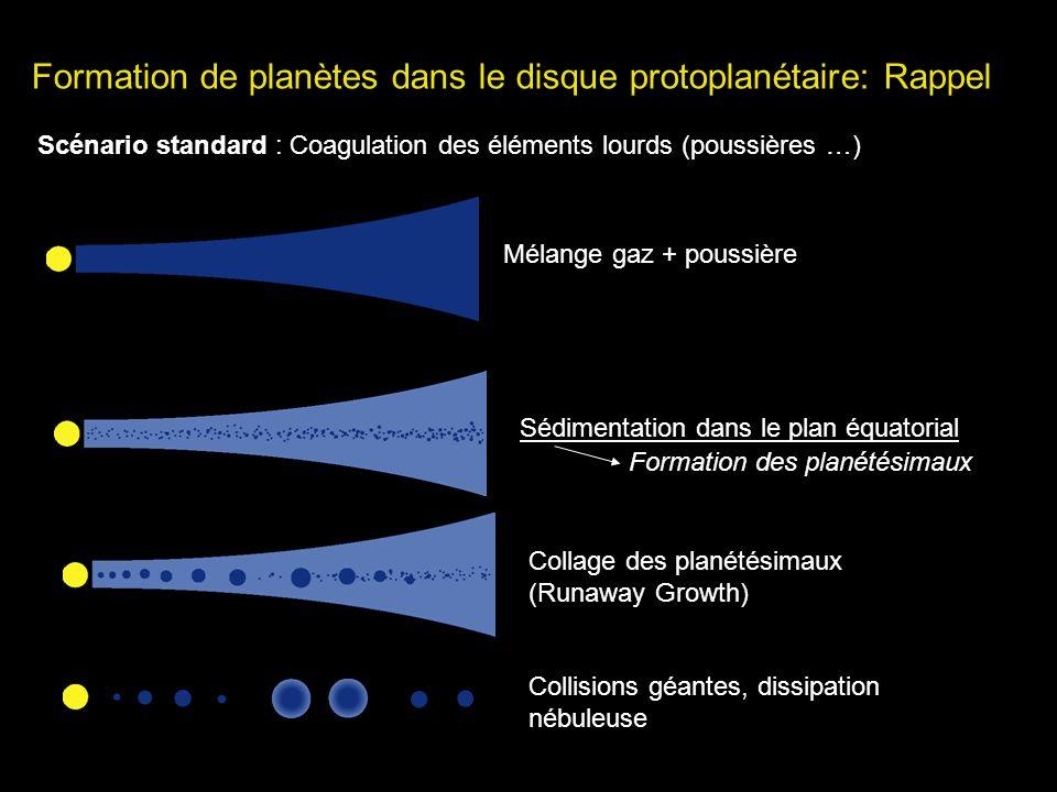 Formation de planètes dans le disque protoplanétaire: Rappel Scénario standard : Coagulation des éléments lourds (poussières …) Mélange gaz + poussièr
