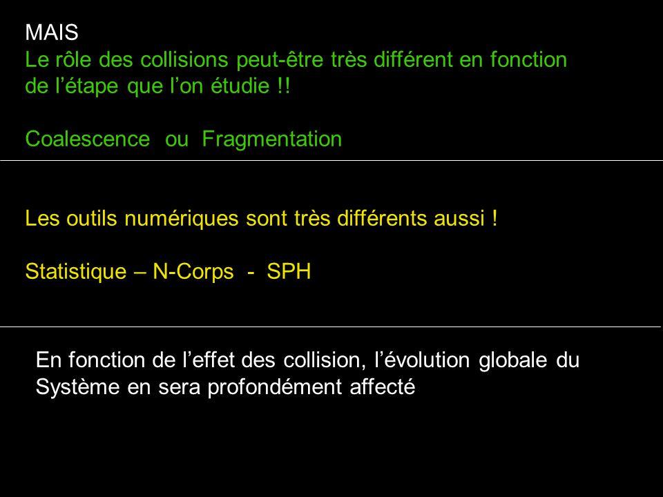 MAIS Le rôle des collisions peut-être très différent en fonction de létape que lon étudie !! Coalescence ou Fragmentation Les outils numériques sont t