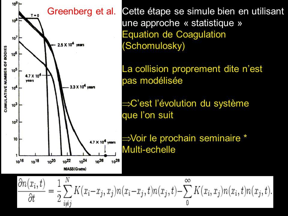 Cette étape se simule bien en utilisant une approche « statistique » Equation de Coagulation (Schomulosky) La collision proprement dite nest pas modél