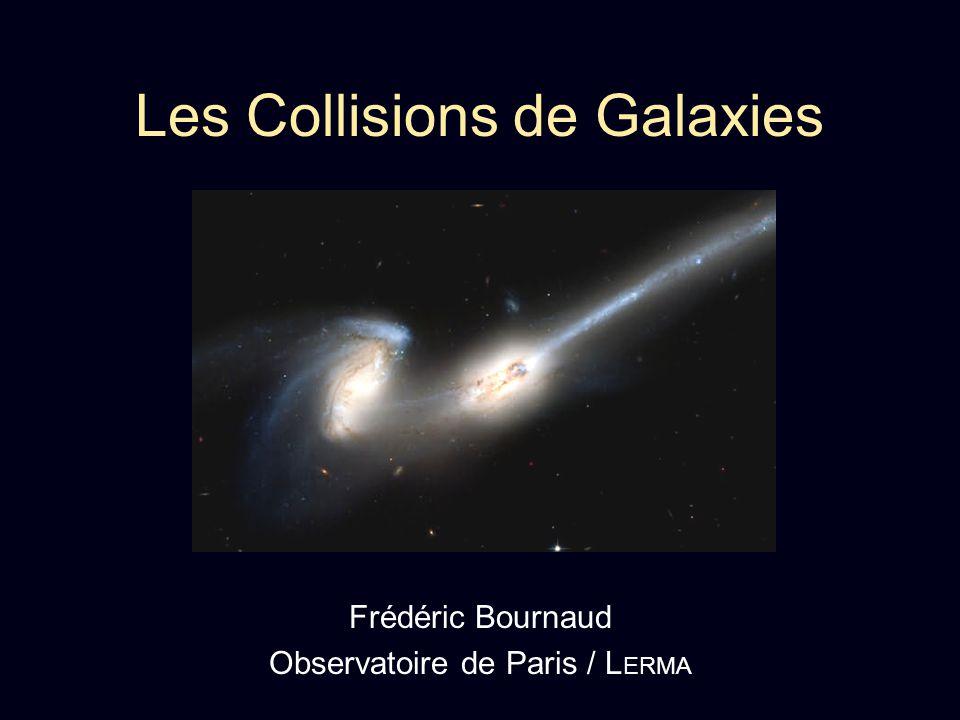 Des évènements fréquents Collisions mineures : Une galaxie + 1 naine < 10% - Tous les 2-3 Gyr dans le champ - Continu dans les groupes ex : M-W + GMC Collisions majeures : Galaxies de masses similaires - Exceptionnel dans le champ - Tous les 1-3 Gyr dans les groupes pauvres - Quasi-continu dans les groupes compact