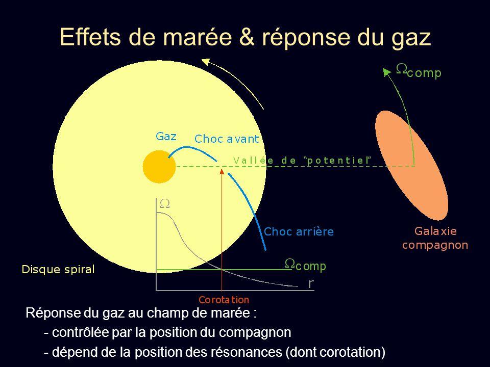Effets de marée & réponse du gaz Réponse du gaz au champ de marée : - contrôlée par la position du compagnon - dépend de la position des résonances (d
