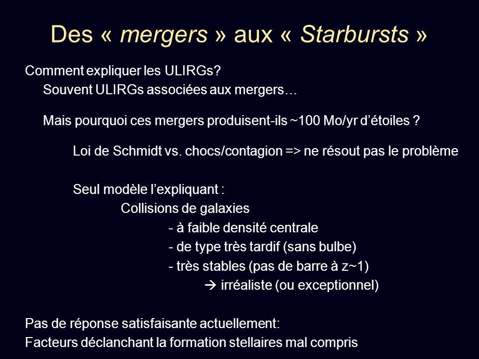 Des « mergers » aux « Starbursts » Comment expliquer les ULIRGs? Souvent ULIRGs associées aux mergers… Mais pourquoi ces mergers produisent-ils ~100 M