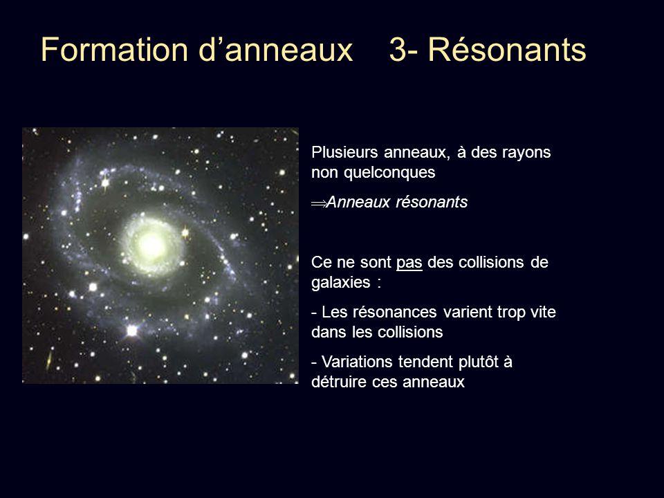 Formation danneaux 3- Résonants Plusieurs anneaux, à des rayons non quelconques Anneaux résonants Ce ne sont pas des collisions de galaxies : - Les ré