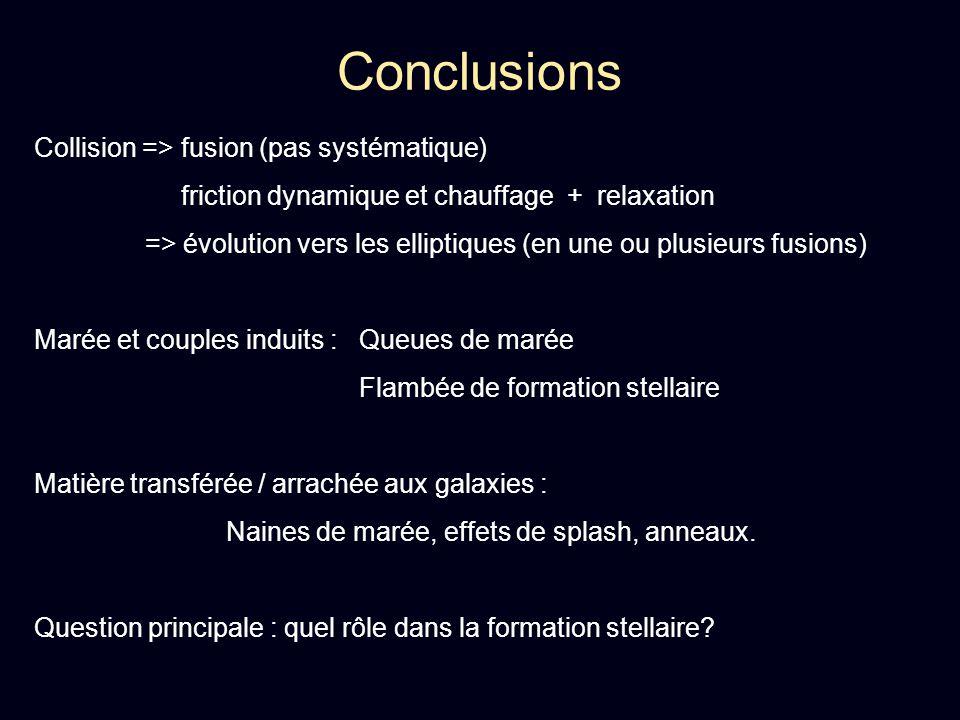 Conclusions Collision => fusion (pas systématique) friction dynamique et chauffage + relaxation => évolution vers les elliptiques (en une ou plusieurs