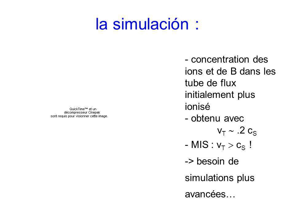 la simulación : - concentration des ions et de B dans les tube de flux initialement plus ionisé - obtenu avec v T.2 c S - MIS : v T c S ! -> besoin de