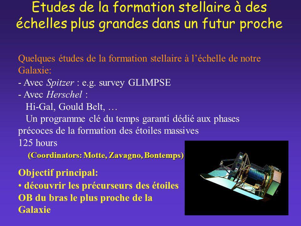 Quelques études de la formation stellaire à léchelle de notre Galaxie: - Avec Spitzer : e.g. survey GLIMPSE - Avec Herschel : Hi-Gal, Gould Belt, … Un