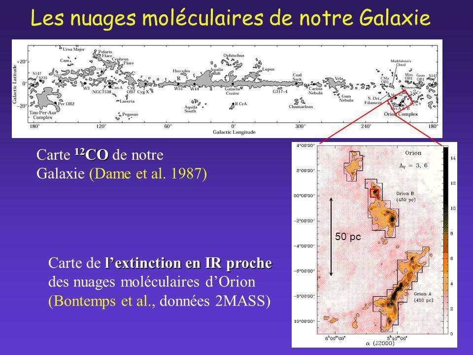 lextinction enIR proche Carte de lextinction en IR proche des nuages moléculaires dOrion (Bontemps et al., données 2MASS) 12 CO Carte 12 CO de notre G