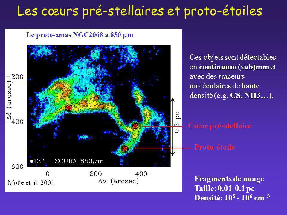 Le proto-amas NGC2068 à 850 m Motte et al. 2001 Les cœurs pré-stellaires et proto-étoiles Fragments de nuage Taille: 0.01-0.1 pc Densité: 10 5 - 10 6